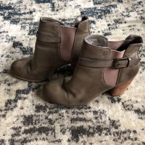 Khaki Green Booties with Buckles